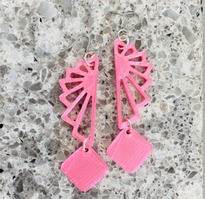 Astra Gatsby 3D Printed Dangle Earrings- Pink