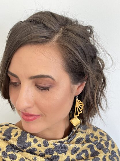 Astra Gatsby 3D Printed Dangle Earrings- Gold